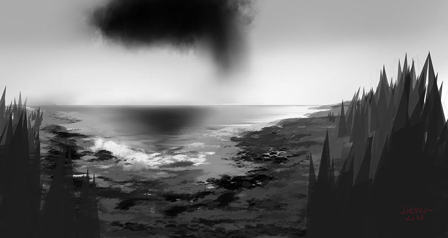 Abstract sketch of a landscape. A dark cloud looms over the ocean, pointy triangles surrounds both sides of a cove.